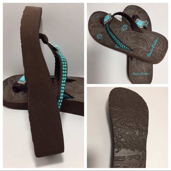 3870afcbf Bling Turquoise and Rhinestone Flip Flops